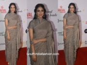 Malavika Mohanan in a handloom grey saree at Beyond The Clouds Special Screening