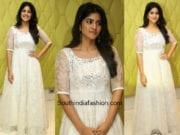 Megha Akash in a white gown at Chal Mera Ranga Success Meet