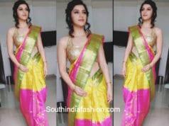 Mehreen Pirzadaa in a silk saree at GV Shopping Mall opening in Eluru
