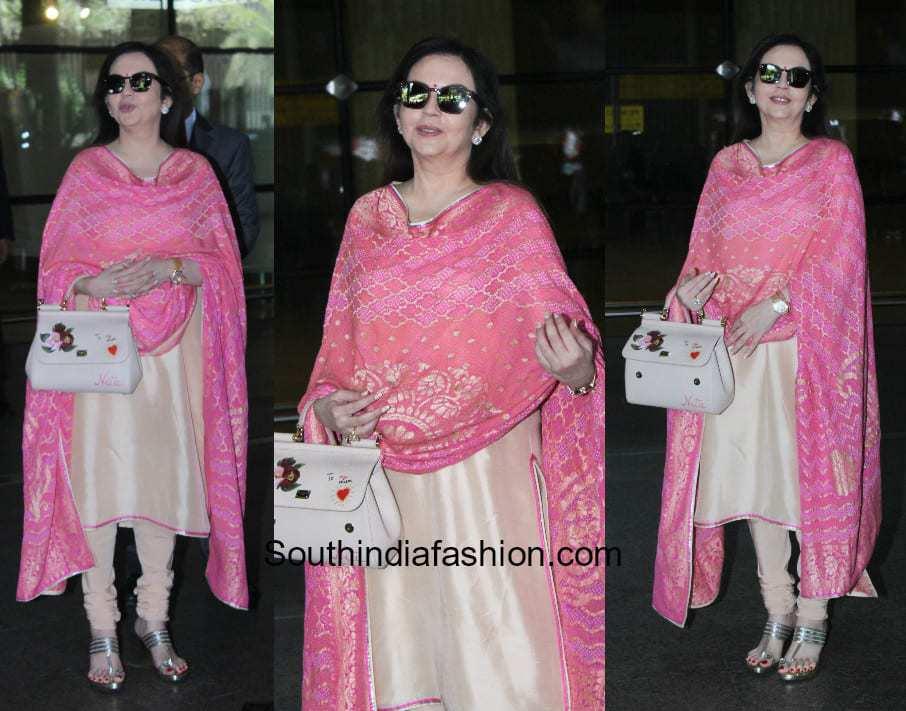 Nita Ambani in a salwar suit at the airport