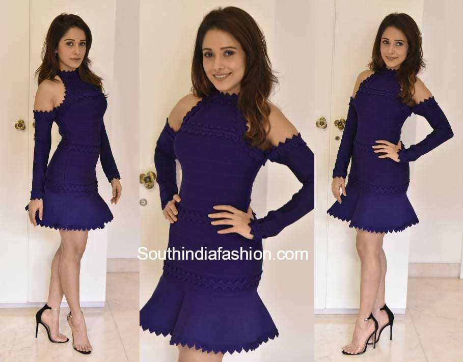 Nushrat Bharucha in a cold shoulder dress for a shoot