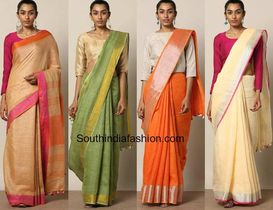 linen sarees with zari borders online