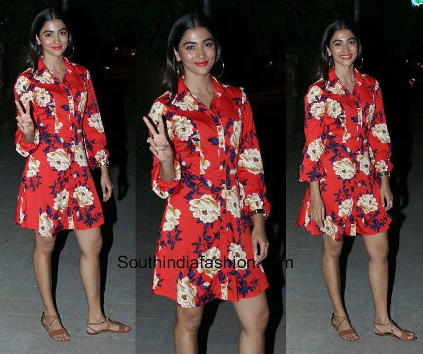 Pooja Hegde in a floral red dress