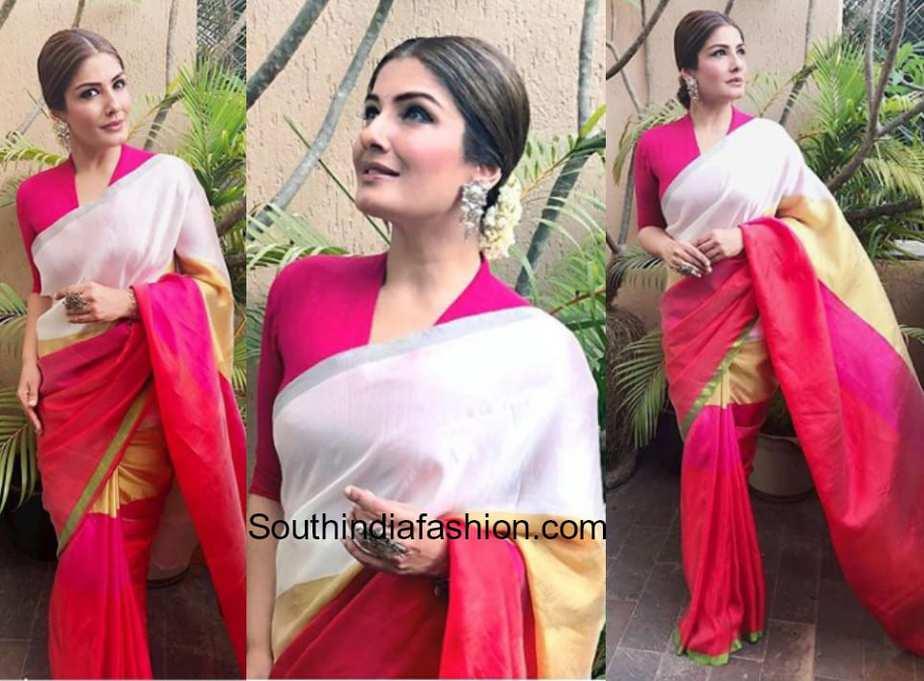 Raveena Tandon in a color blocked silk saree by Payal Khandwala at an event