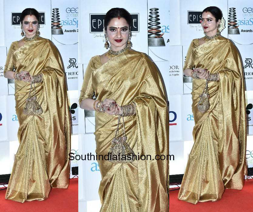 Rekha in a kanjeevaram saree at Asia Spa Awards 2018