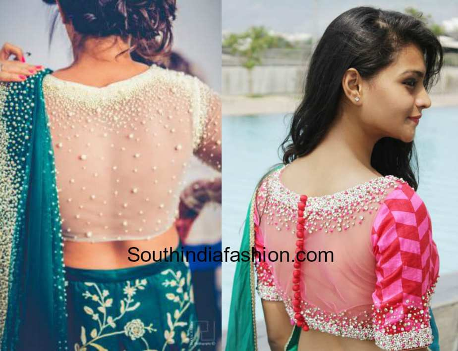 Sheer Embroidery Blouse Designs 2