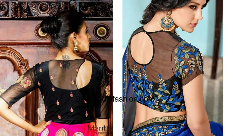 Sheer Embroidery Blouse Designs