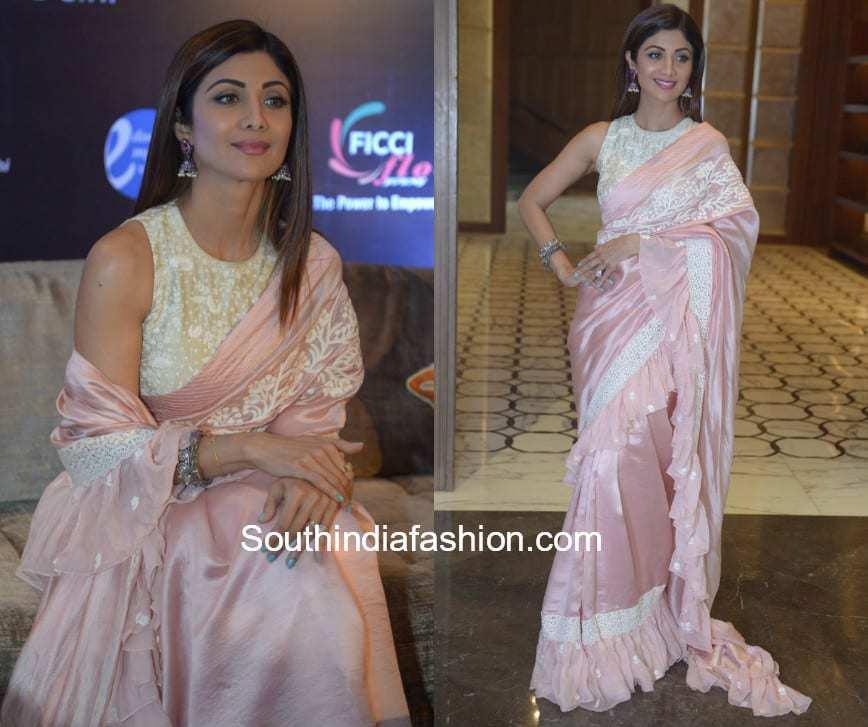 Shilpa Shetty in Jayanti Reddy saree at Ficci Flo Event