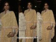 Sonali Bendre in a peach chikankari suit at Saudamini Mettu's wedding reception