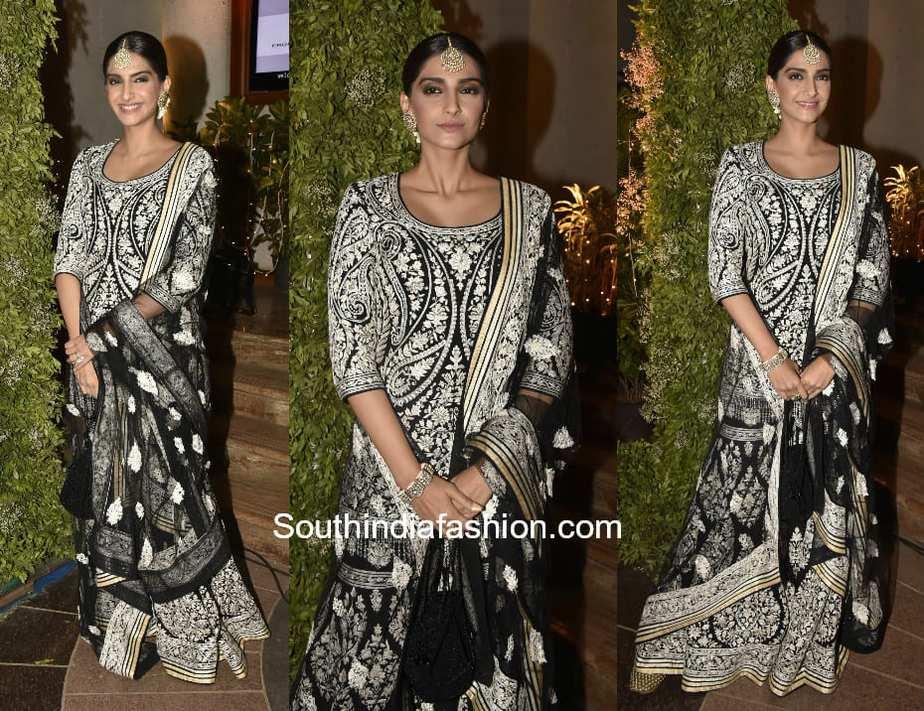 Sonam Kapoor in Abu Jani Sandeep Khosla at Saudamini Mattu Wedding Reception