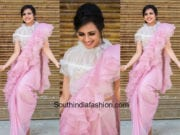 Sruthi Hariharan in a ruffled saree by Krimson