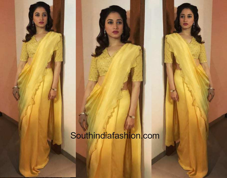 Tamanna Bhatia in AM PM saree for a college function in Trichy