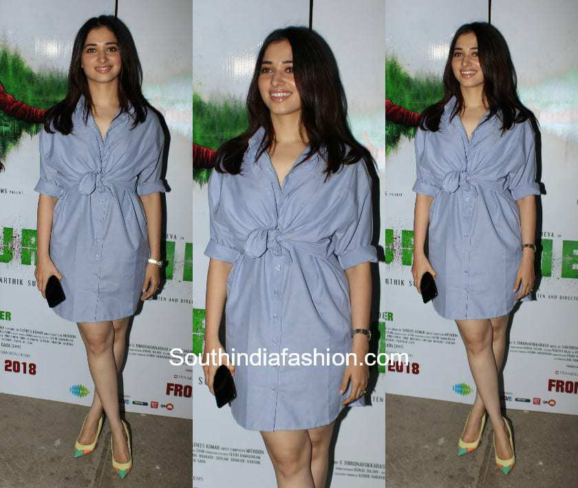 Tamanna Bhatia in a casual dress at Mercury Movie Screening