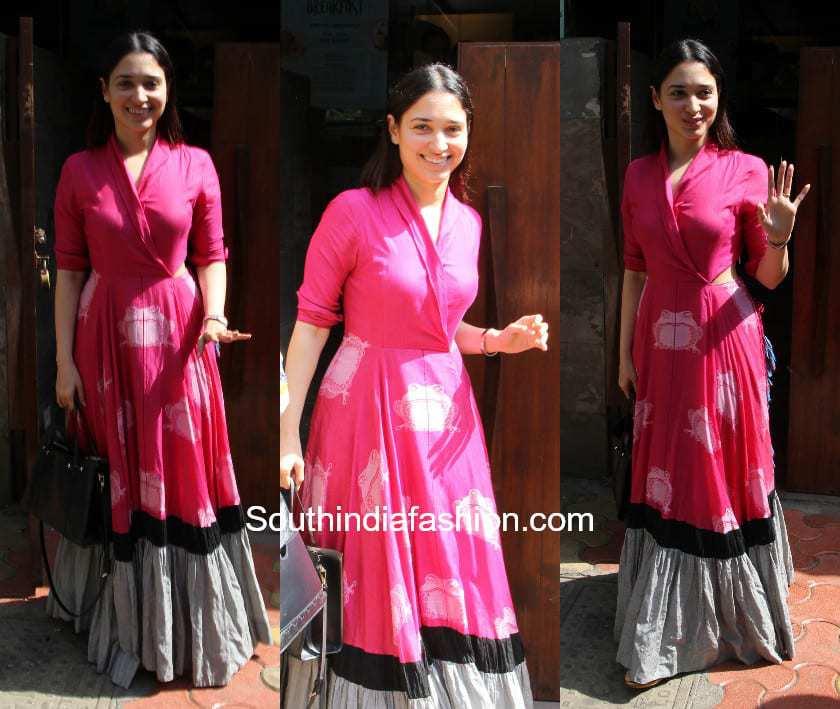 Tamanna Bhatia spotted in Debashri Samanta Outfit
