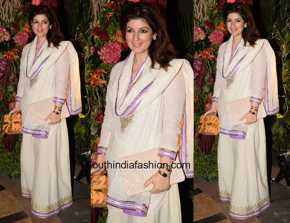 Twinkle Khanna in a sharara ensemble at Saudamini Mettu's wedding reception