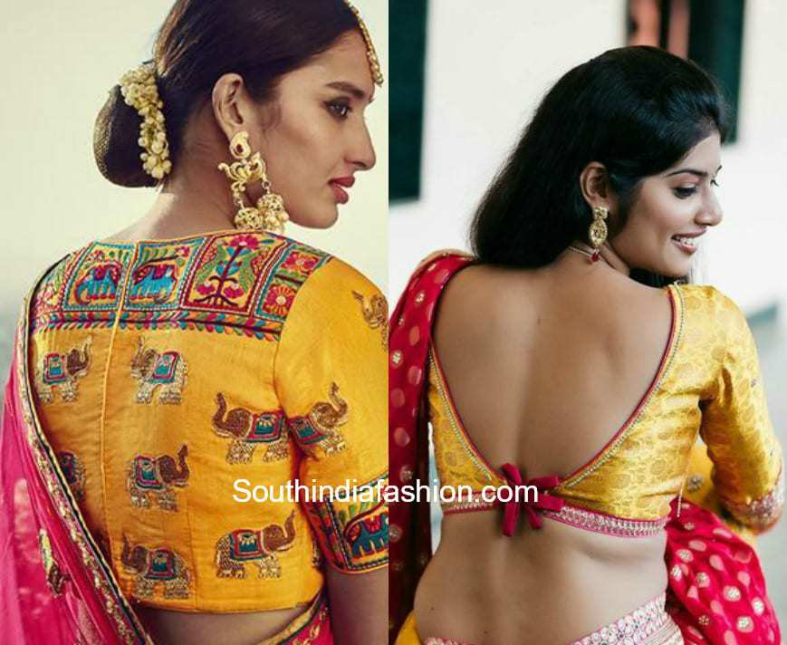 Yellow Embroidery Saree Blouse Designs