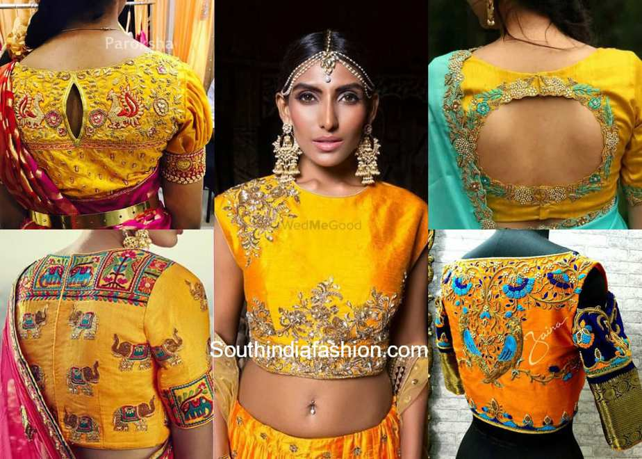 Yellow Embroidered Blouse Designs