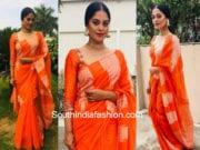 bindu madhavi orange saree