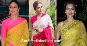 celebrities in bright color sarees