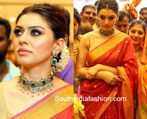 hansika red saree min n ornages store launch