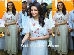 kajal aggarwal in white dress at happi mobiles launch karimnagar