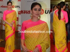 kareena kapoor yellow saree pink blouse lokmat awards 2018