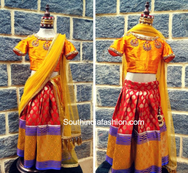 kids pattu pavada designs