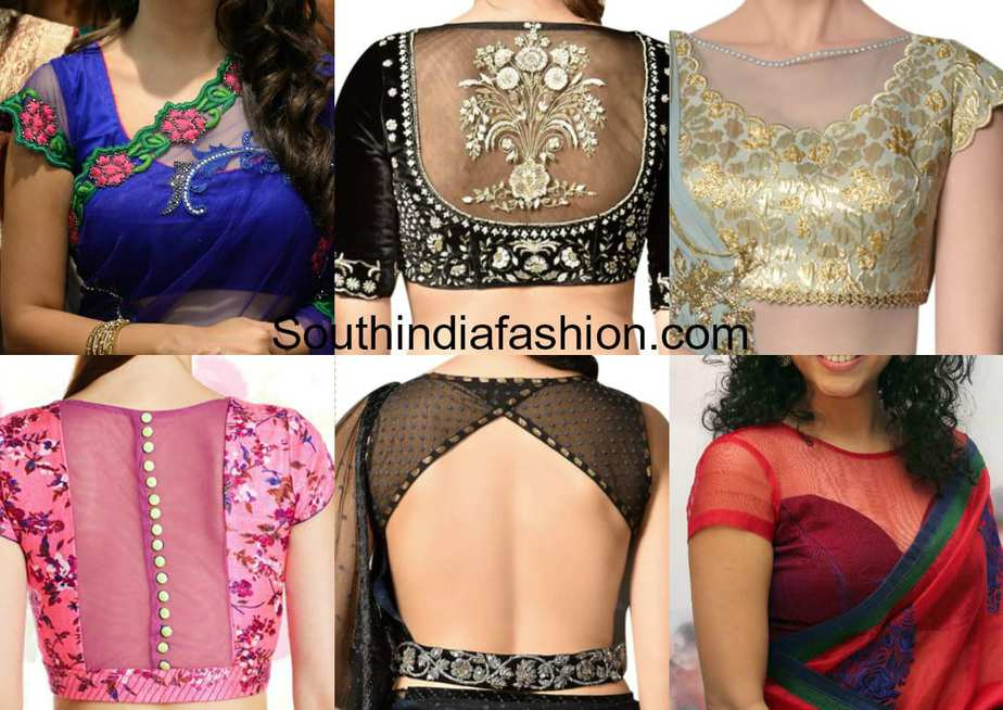 Trendy net pattern blouses for designer sarees south for Net designs