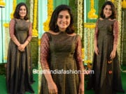 nivetha thomas long gown new movie launch