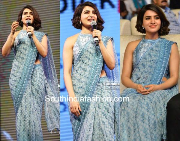samantha akkineni blue saree rangasthalam success party