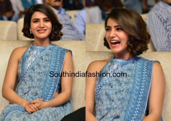 samantha akkineni short hairstyle with saree
