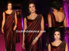 sanjana maroon saree zee apsara awards
