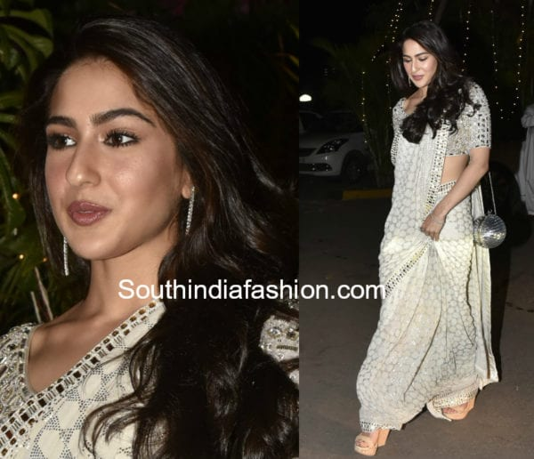 sara ali khan white saree at saudamini mattu wedding reception