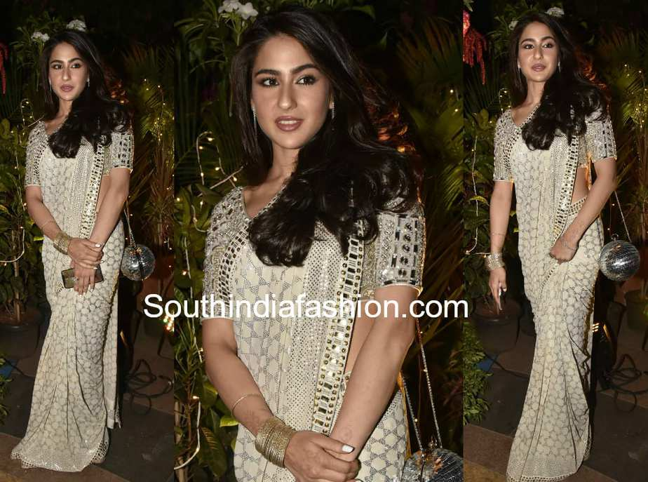 sara ali khan in white mirror work saree by abu jani sandeep khosla