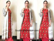 tamannaah red salwar with jacket memu saitham