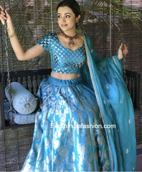 trisha krishnan blue lehenga at jewellery store launch