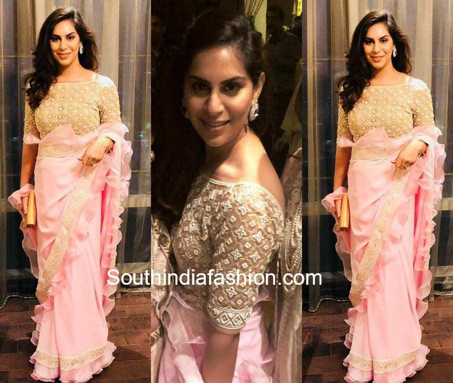 upasana kamineni in pink ruffle saree by abu jani sandeep khosla
