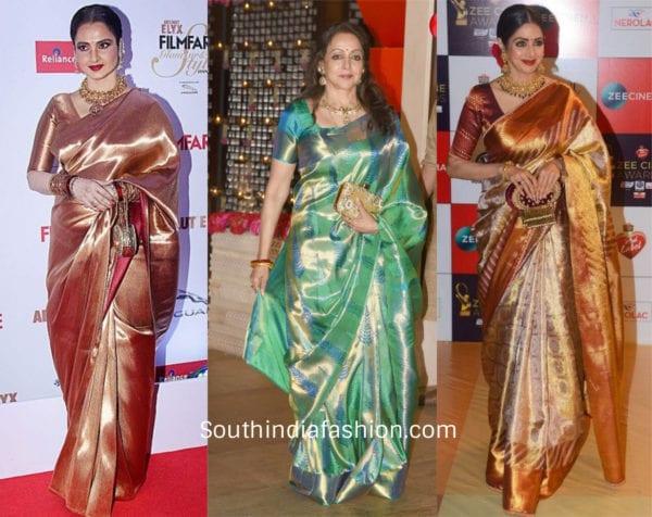 actresses wearing kanchi sarees