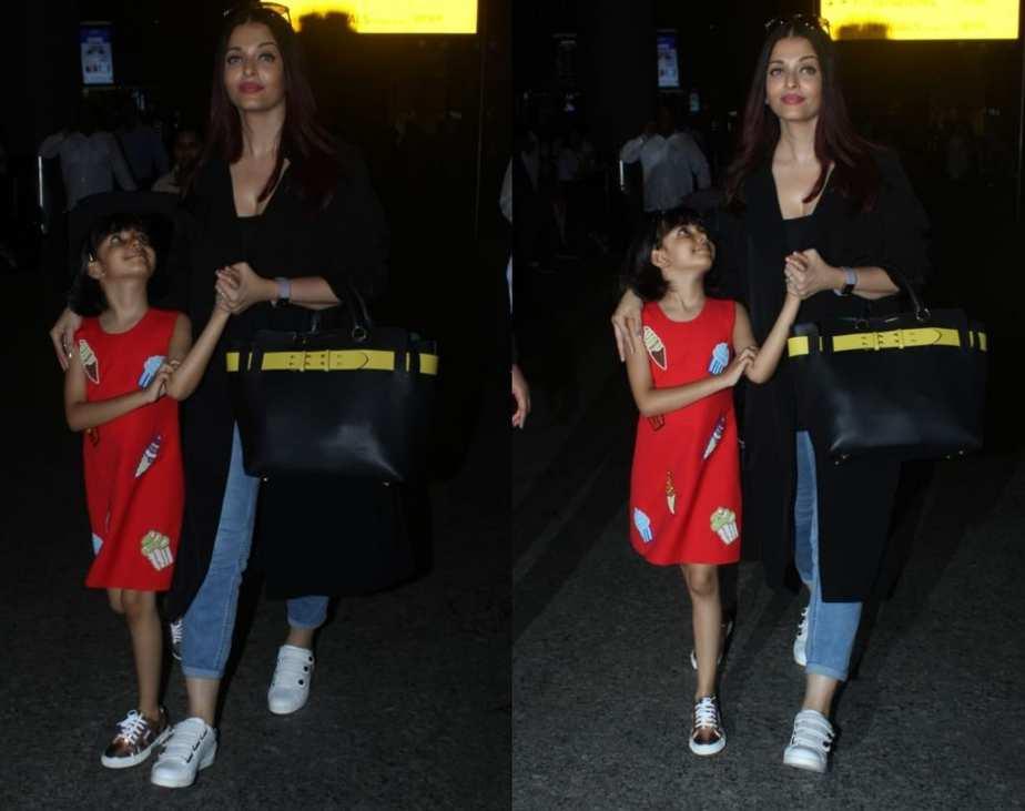 Aishwarya Rai Bachchan with aradhya at airport