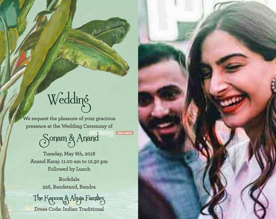 sonam kapoor wedding invitation