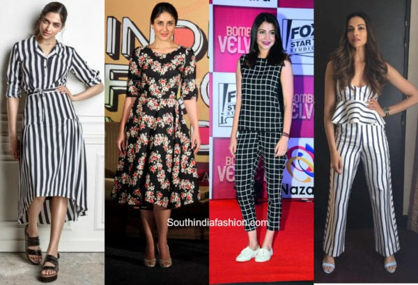 indian ctress in stripes and prints outfits