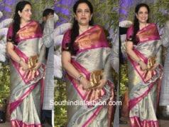 Rashmi Thackeray in gaurang shah kanjeevaram saree at sonam kapoor wedding reception