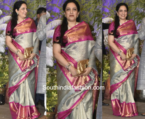 Rashmi Thackeray in gaurang shah kanjeevaram saree at sonam kapoor wedding reception