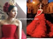 shriya bhupal pre wedding red gown