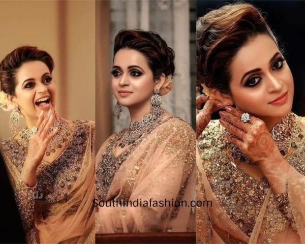 bhavana menon wedding reception outfit