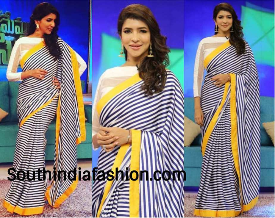 Lakshmi Manchu in a striped saree by Stephin Lalan