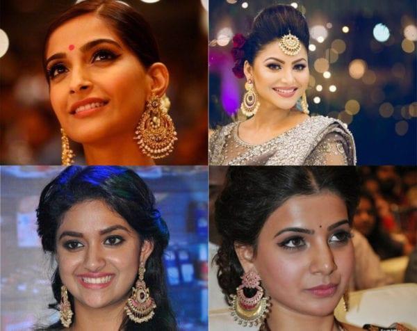 actresses wearing chandbali
