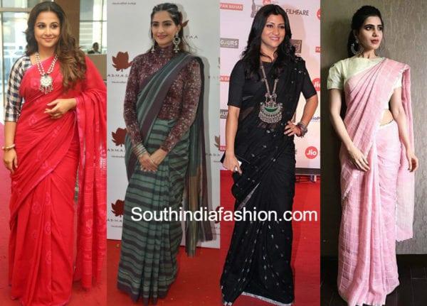 actresses wearing handloom sarees