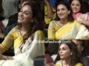 aishwarya dhanush linen saree printed blouse kaala audio launch