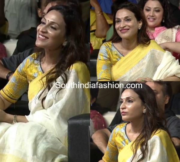 aishwarya dhanush linen saree printed blouse kaala audio launch